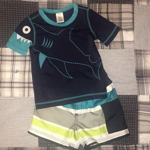 Gymboree Shark swim set 12-18 mos Like New